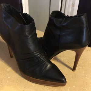 Santini Shoes - Santini Black Ruched Leather Bootie